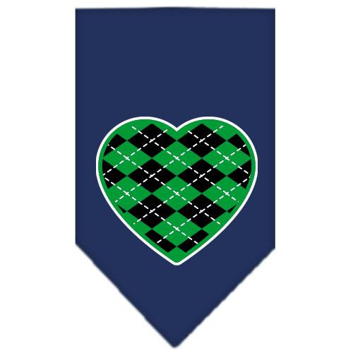 Argyle Heart Green Screen Print Bandana Navy Blue Small