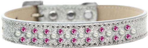 Sprinkles Ice Cream Dog Collar Pearl And Bright Pink Crystals Size 12 Silver