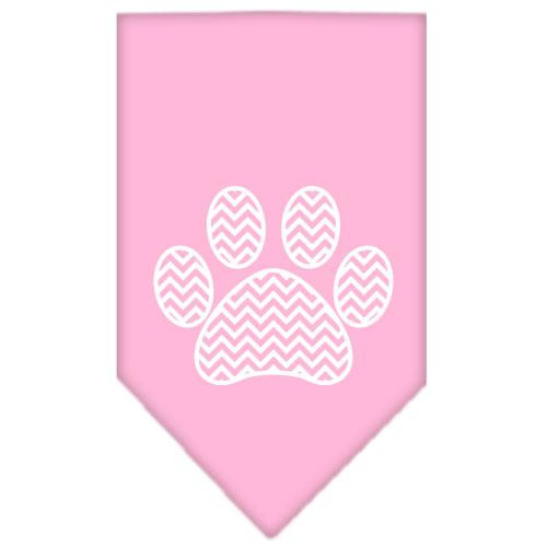 Chevron Paw Screen Print Bandana Light Pink Large