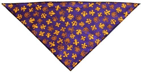 Purple Fleur De Lis Tie-on Pet Bandana Size Large