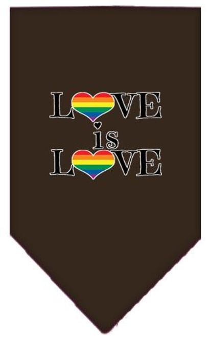 Love Is Love Screen Print Bandana Cocoa Large