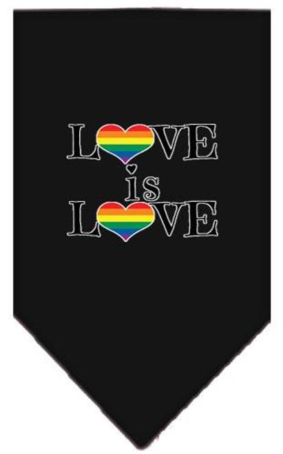 Love Is Love Screen Print Bandana Black Large