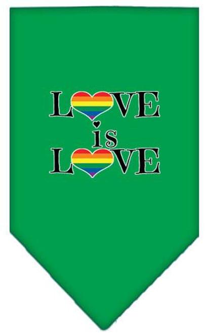 Love Is Love Screen Print Bandana Emerald Green Large