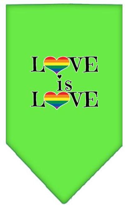 Love Is Love Screen Print Bandana Lime Green Large