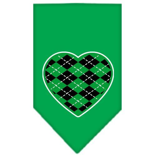 Argyle Heart Green Screen Print Bandana Emerald Green Small