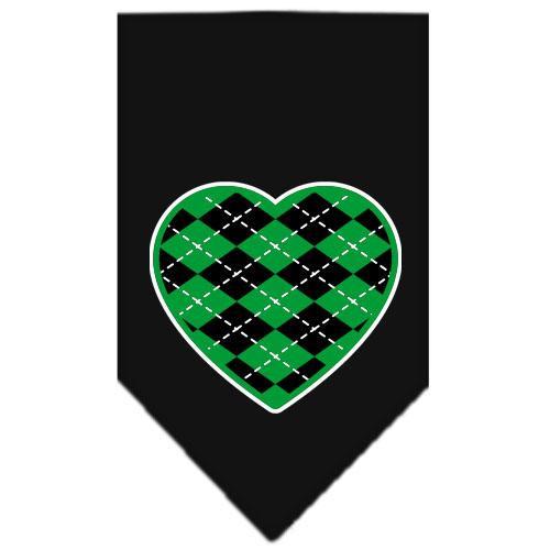 Argyle Heart Green Screen Print Bandana Black Small