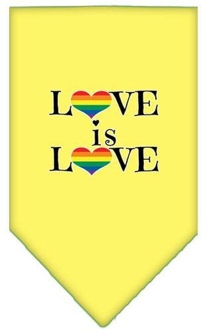Love Is Love Screen Print Bandana Yellow Large