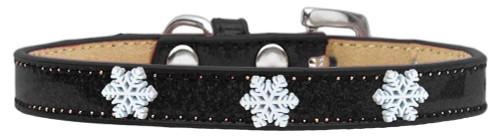 Snowflake Widget Dog Collar Black Ice Cream Size 14