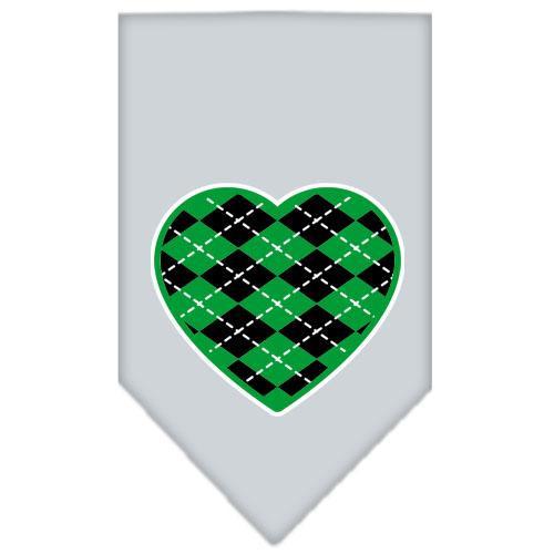 Argyle Heart Green Screen Print Bandana Grey Small