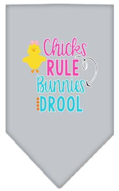 Chicks Rule Screen Print Bandana Grey Large