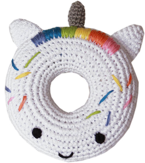 Knit Knacks Unicorn Donut Organic Cotton Small Dog Toy