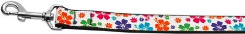 Multi-colored Hawaiian Hibiscus Nylon Dog Leashes 4 Foot Leash