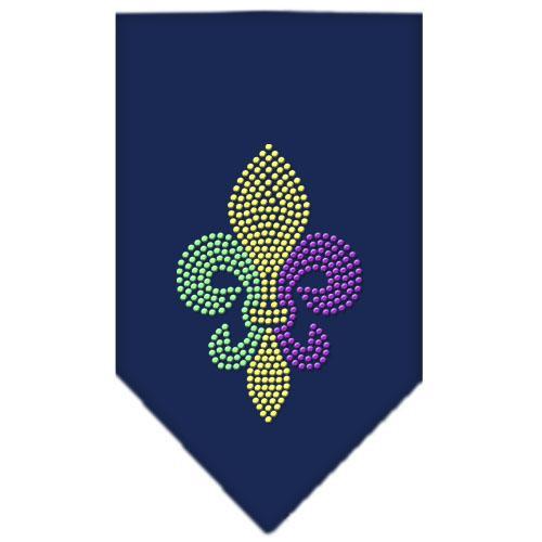 Mardi Gras Fleur De Lis Rhinestone Bandana Navy Blue Small