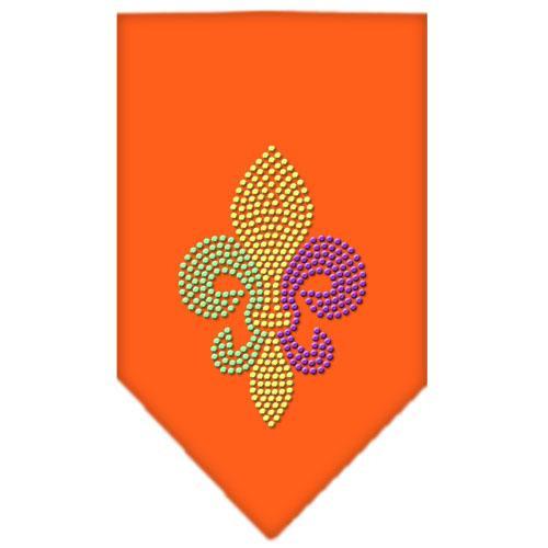 Mardi Gras Fleur De Lis Rhinestone Bandana Orange Small