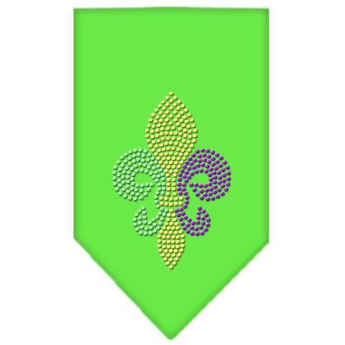 Mardi Gras Fleur De Lis Rhinestone Bandana Lime Green Small