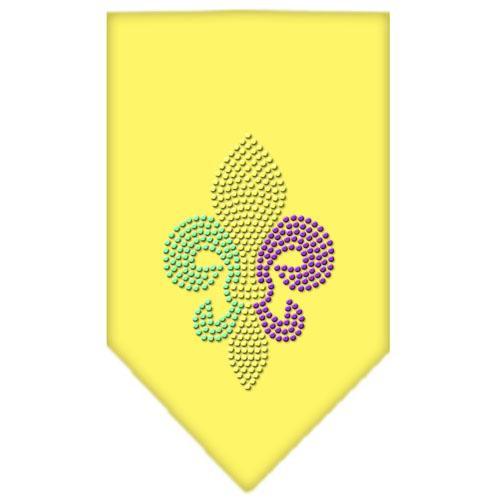 Mardi Gras Fleur De Lis Rhinestone Bandana Yellow Small