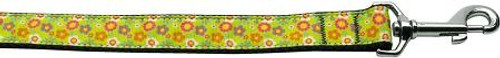 Lime Spring Flowers 1 Inch Wide 6ft Long Leash