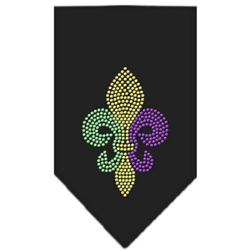 Mardi Gras Fleur De Lis Rhinestone Bandana Black Small