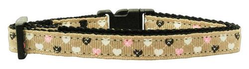 Argyle Hearts Nylon Ribbon Collar Tan Cat Safety