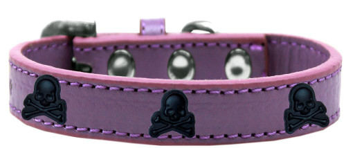 Skull Widget Dog Collar Lavender Size 14