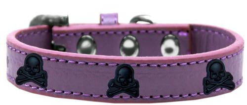 Skull Widget Dog Collar Lavender Size 12