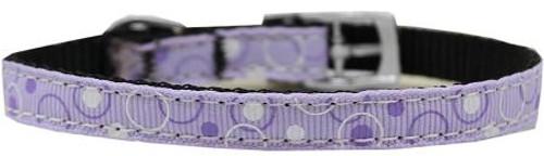 "Retro Nylon Dog Collar With Classic Buckle 3/8"" Lavender Size 14"