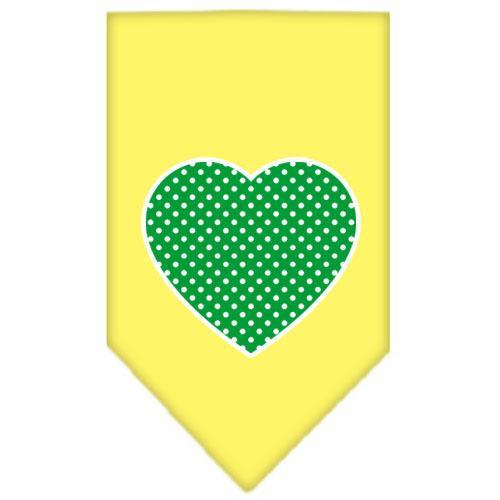 Green Swiss Dot Heart Screen Print Bandana Yellow Large