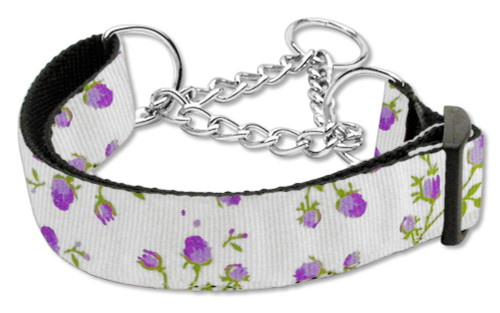 Roses Nylon Ribbon Collar Martingale Large Purple - 125-020M LGPR