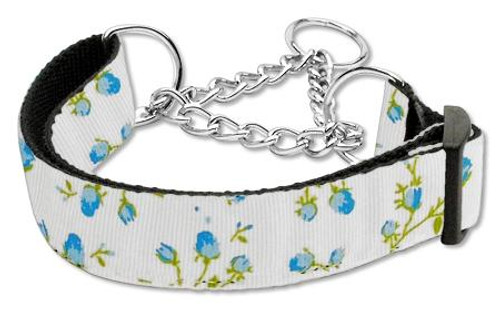 Roses Nylon Ribbon Collar Martingale Large Blue - 125-020M LGBL