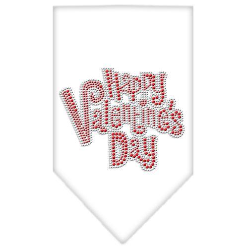 Happy Valentines Day Rhinestone Bandana White Large
