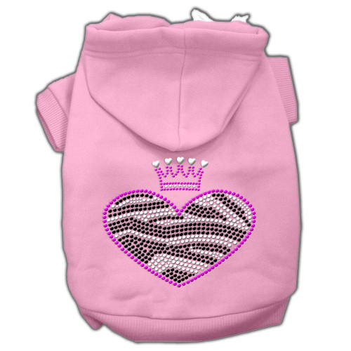 Zebra Heart Rhinestone Hoodies Pink M (12)