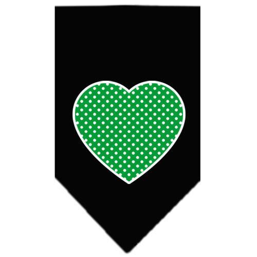 Green Swiss Dot Heart Screen Print Bandana Black Large