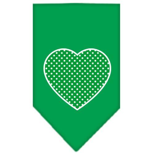 Green Swiss Dot Heart Screen Print Bandana Emerald Green Large