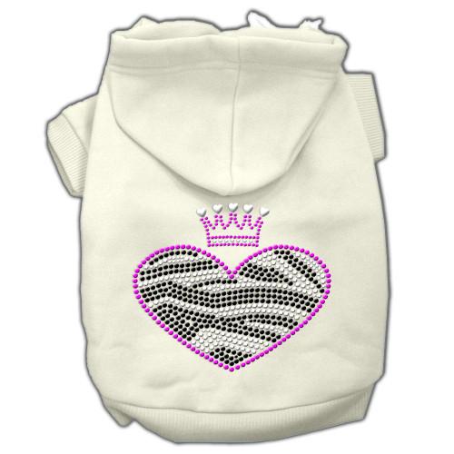 Zebra Heart Rhinestone Hoodies Cream M (12)