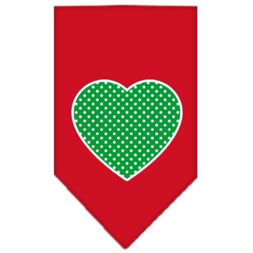 Green Swiss Dot Heart Screen Print Bandana Red Large