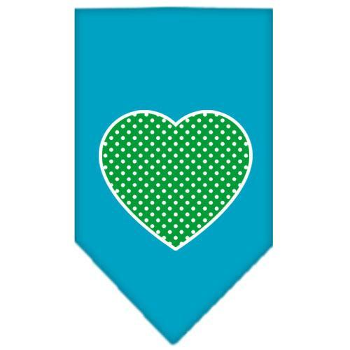 Green Swiss Dot Heart Screen Print Bandana Turquoise Large