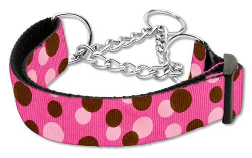 Confetti Dots Nylon Collar Martingale Bright Pink Medium
