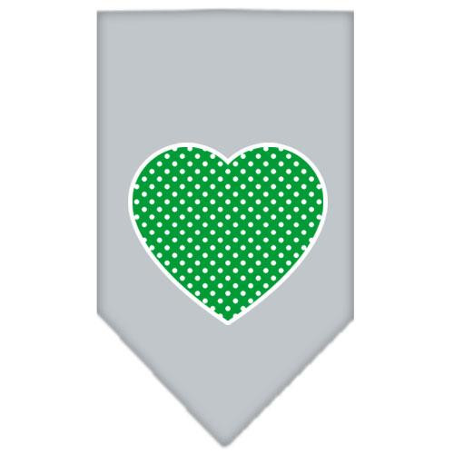 Green Swiss Dot Heart Screen Print Bandana Grey Large