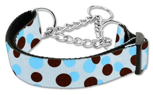Confetti Dots Nylon Collar Martingale Baby Blue Medium