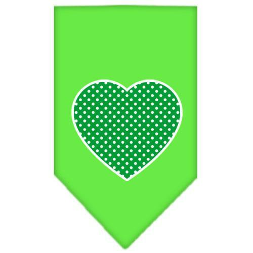 Green Swiss Dot Heart Screen Print Bandana Lime Green Large
