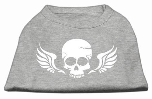 Skull Wings Screen Print Shirt Grey Lg (14)