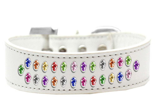 Two Row Confetti Crystal Size 14 White Dog Collar