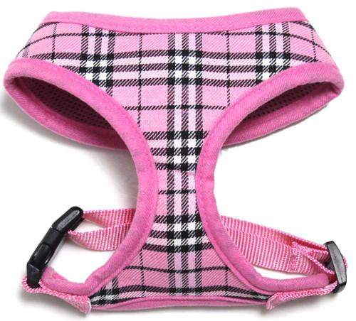 Plaid Mesh Pet Harness Light Pink Large