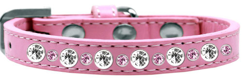 Posh Jeweled Dog Collar Light Pink Size 12