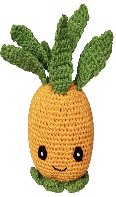 Knit Knacks Paulie The Pineapple Organic Cotton Small Dog Toy