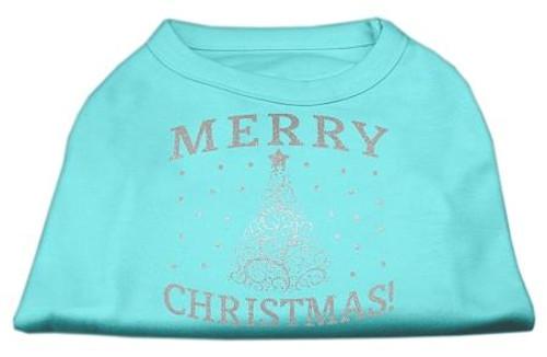 Shimmer Christmas Tree Pet Shirt Aqua Xs (8)