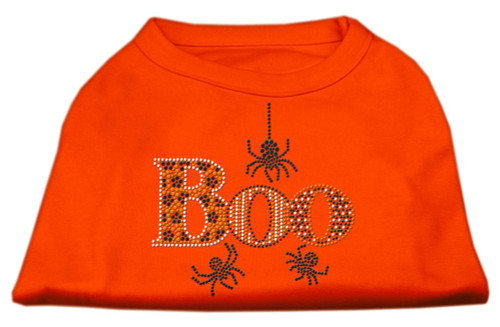 Boo Rhinestone Dog Shirt Orange Sm (10)