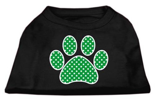 Green Swiss Dot Paw Screen Print Shirt Black Med (12)