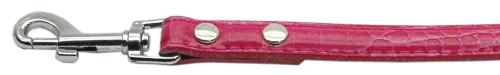 "18mm  Two Tier Faux Croc Collar Pink 3/4"" Leash - 18-01 34PKC"