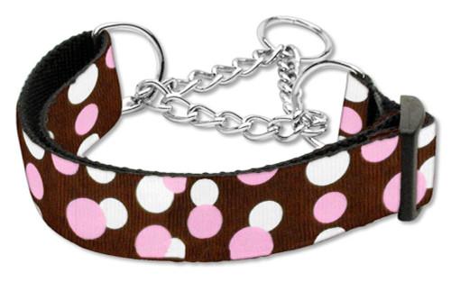 Confetti Dots Nylon Collar Martingale Chocolate Medium